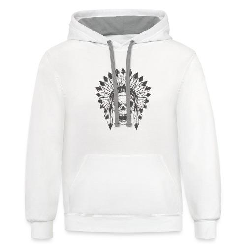Indian skull - Contrast Hoodie