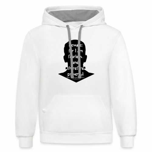Frankenstein quote white text on black outline - Contrast Hoodie