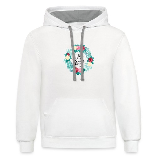 I Love You Always And Forever Floral Wreath - Contrast Hoodie