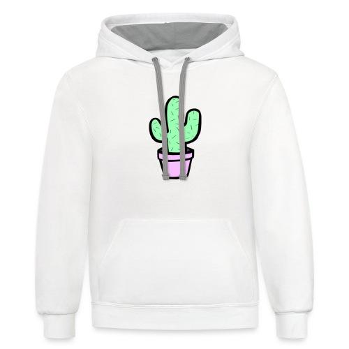 Cactus cute - Contrast Hoodie