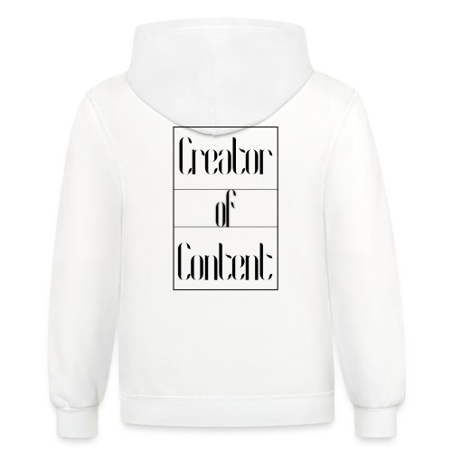 Creator Of Content White Hoodie - Contrast Hoodie