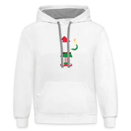 Im the smart Elf Funny Christmas T-Shirt Gift - Contrast Hoodie