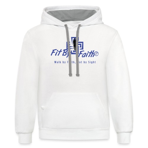 FitbyFaith back png - Unisex Contrast Hoodie