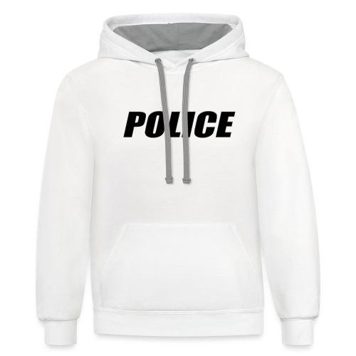 Police Black - Unisex Contrast Hoodie