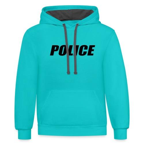 Police Black - Contrast Hoodie