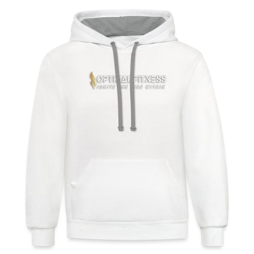 white logo, keep calm and hiit it white - Contrast Hoodie
