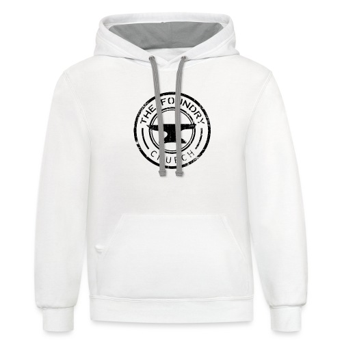 Foundry Church Logo Distressed black 12 in - Unisex Contrast Hoodie