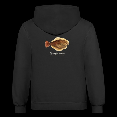 Yellow belly flounder - Unisex Contrast Hoodie
