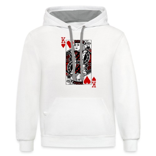 king of hearts Valentines Day (his and her) - Unisex Contrast Hoodie