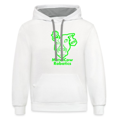MetalCowLogo GreenOutline - Contrast Hoodie