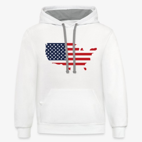 USA flag map red, white & blue - Unisex Contrast Hoodie
