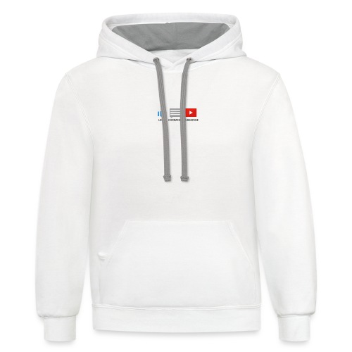 small - like, comment, subscribe - Unisex Contrast Hoodie