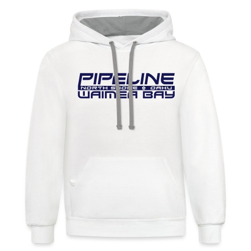 Pipeline Waimea Bay - North Shore, Oahu, Hawaii - Contrast Hoodie