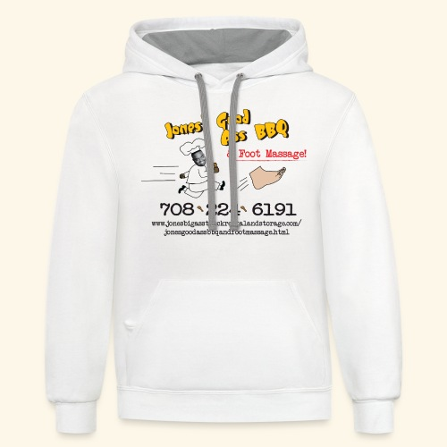 Jones Good Ass BBQ and Foot Massage logo - Contrast Hoodie
