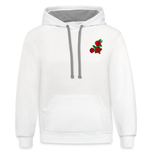 Simple Red Roses design - Contrast Hoodie