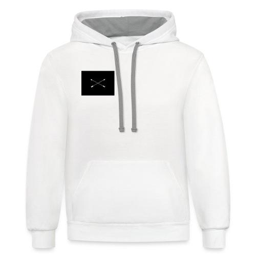 white arrows - Unisex Contrast Hoodie