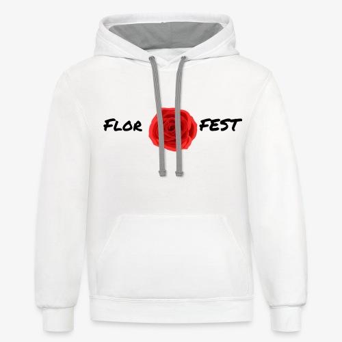flor fest | black text - Contrast Hoodie