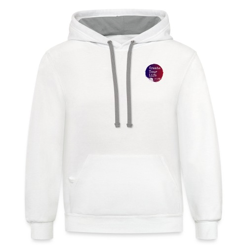 Create Your Life Sticker - Unisex Contrast Hoodie