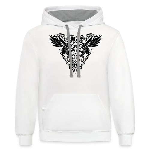 Vintage JHAS Tribal Skull Wings Illustration - Contrast Hoodie