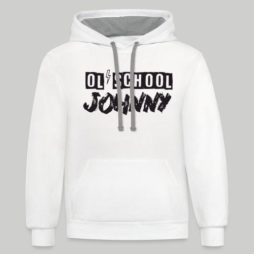 Ol' School Johnny Logo - Black Text - Unisex Contrast Hoodie