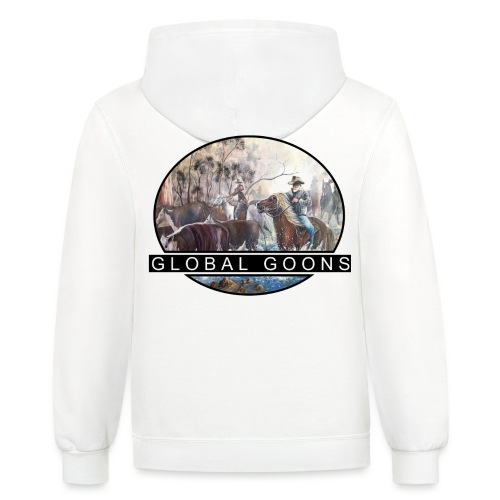G L O B A L horses in the back - Unisex Contrast Hoodie