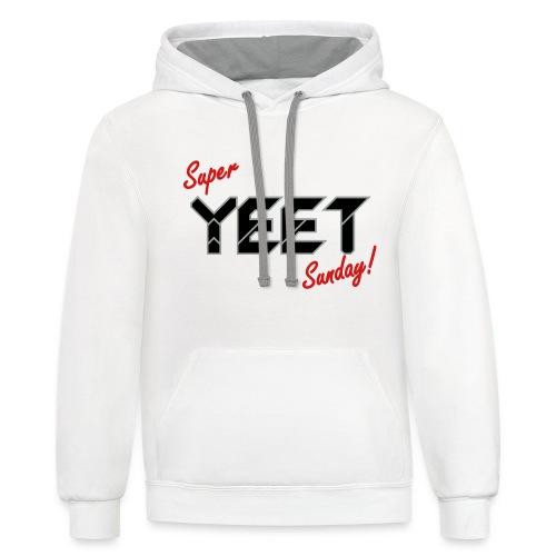 Super Yeet Sunday White - Unisex Contrast Hoodie