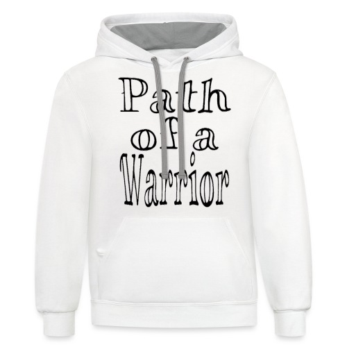 Path of a Warrior (White) - Unisex Contrast Hoodie