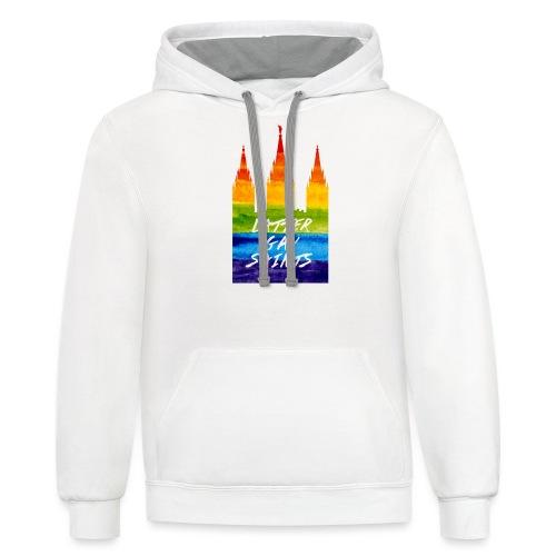 Mormon Temple in gay pride Latter gay saints - Contrast Hoodie