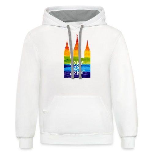 Mormon gay temple love is love - Contrast Hoodie