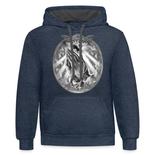 Praying Hands by RollinLow - Unisex Contrast Hoodie