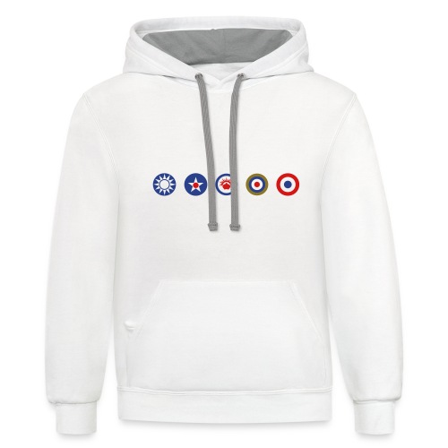 Axis & Allies Logos: China, USA, ANZAC, UK, France - Contrast Hoodie