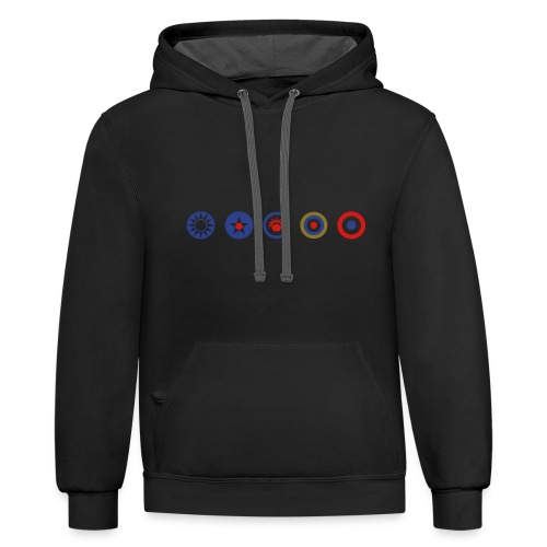 Axis & Allies Logos: China, USA, ANZAC, UK, France - Unisex Contrast Hoodie