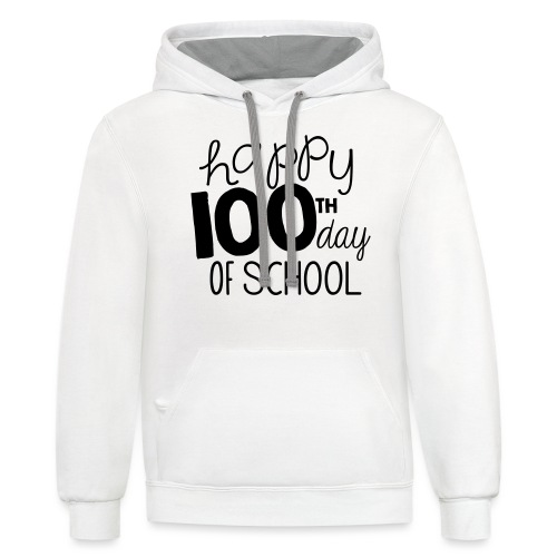 Happy 100th Day of School Chalk Teacher T-Shirt - Contrast Hoodie