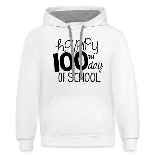 Happy 100th Day of School Chalk Teacher T-Shirt - Unisex Contrast Hoodie