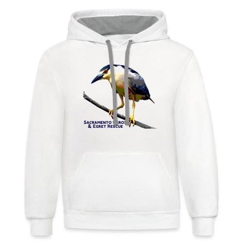 Black crowned Night Heron - Unisex Contrast Hoodie