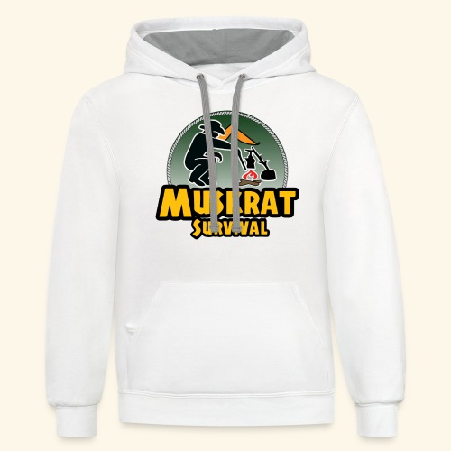 Muskrat round logo - Unisex Contrast Hoodie