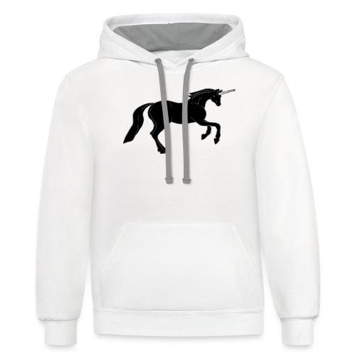 unicorn black - Contrast Hoodie