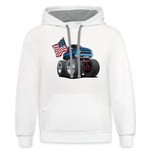 Monster Pickup Truck with USA Flag Cartoon - Contrast Hoodie