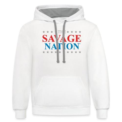 The Savage Nation Logo - Unisex Contrast Hoodie