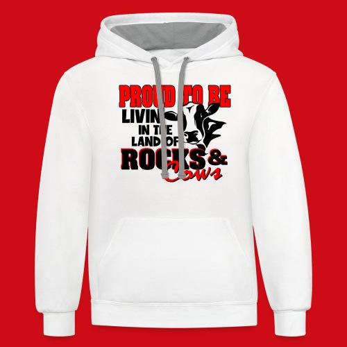 Livin' in the Land of Rocks & Cows - Unisex Contrast Hoodie