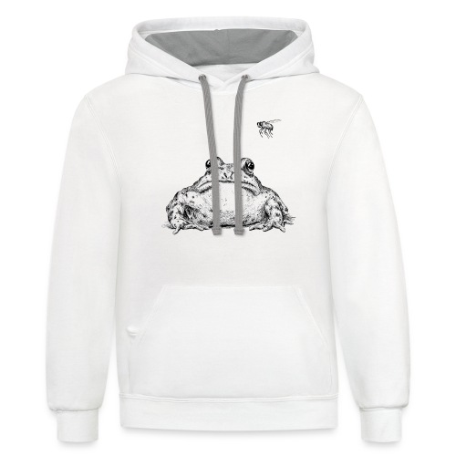 Frog with Fly by Imoya Design - Contrast Hoodie