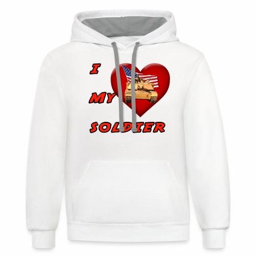 I Heart my Soldier - Unisex Contrast Hoodie