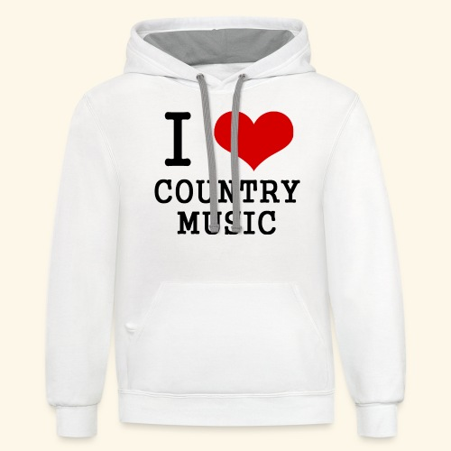 I love country music - Unisex Contrast Hoodie
