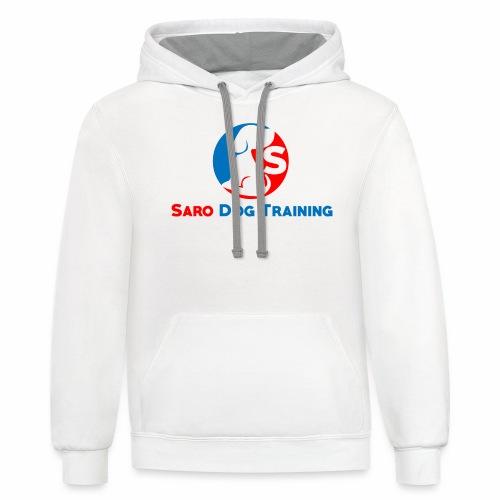 saro dog training logo - Unisex Contrast Hoodie
