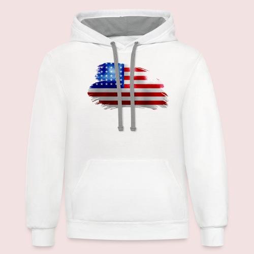 usa flag - Contrast Hoodie