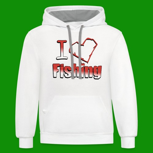 I heart fishing - Unisex Contrast Hoodie