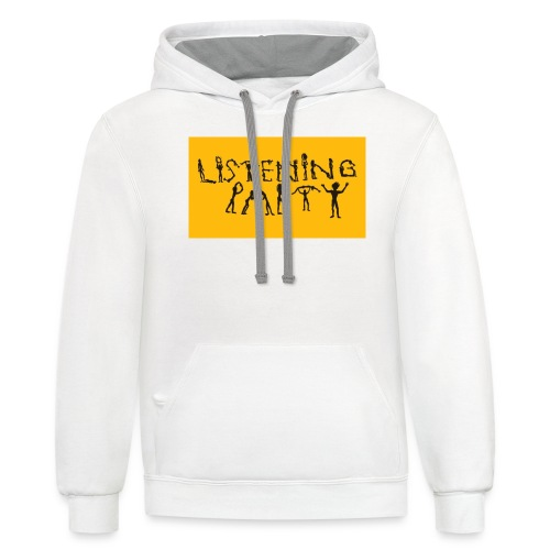 Listening Party Stick Logo - Contrast Hoodie