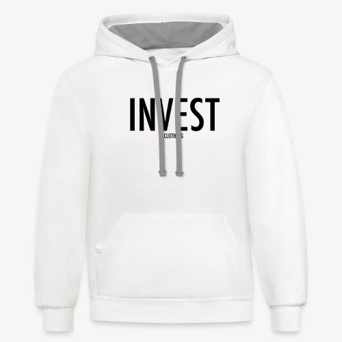 invest clothing black text - Unisex Contrast Hoodie