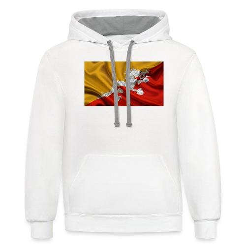 Bhutan Flag - Unisex Contrast Hoodie