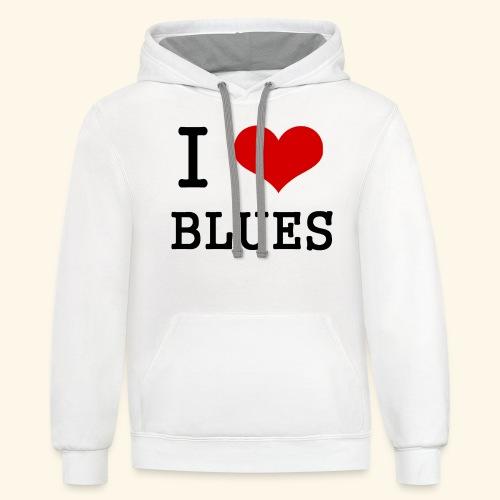 I Heart Blues - Contrast Hoodie